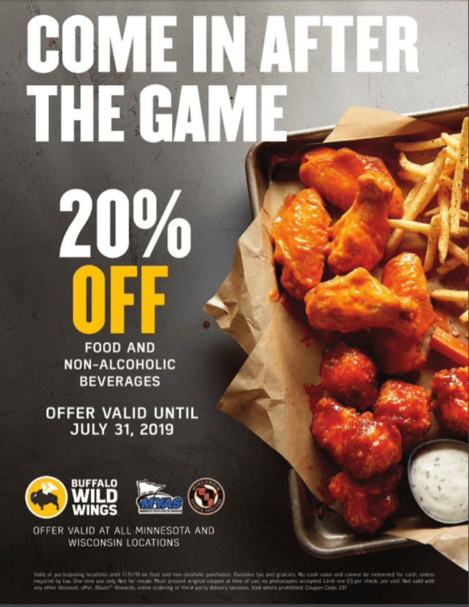 graphic relating to Buffalo Wild Wings Printable Coupons identified as Help save 20% all through July at BWs Minnesota Youth Athletic